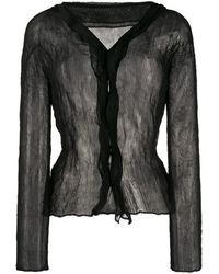 Issey Miyake Blouse à ourlet bouffant - Noir
