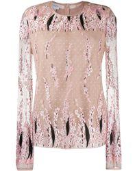 Giambattista Valli Сетчатая Блузка С Цветочной Вышивкой - Розовый
