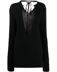 Ann Demeulemeester プランジネック セーター - ブラック