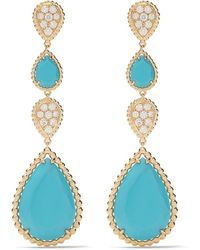 Boucheron - ダイヤモンド&ターコイズ セルパンボエム ピアス 18k イエローゴールド - Lyst