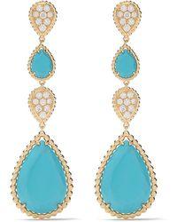 Boucheron 18kt Yellow Gold Serpent Bohème Diamond And Turquoise S Motif Pendant Earrings - Blue
