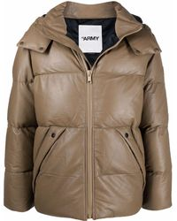 Army by Yves Salomon Leather Padded Jacket - Natural