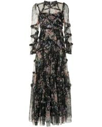 Needle & Thread Floral Print Ruffle Dress - Black