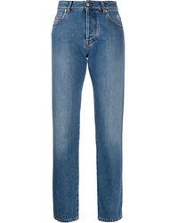 MSGM Broken-heart Print Straight-leg Jeans - Blue