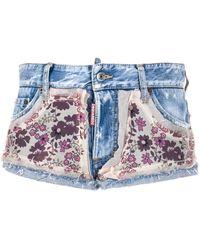 DSquared² Jeans-Shorts mit Blumen-Print - Blau