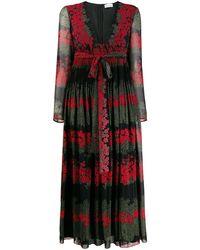 RED Valentino Платье С Цветочным Принтом - Черный