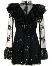 Macgraw Sheer Panel Sequin Minidress - Black