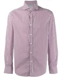 Brunello Cucinelli Striped Long-sleeved Shirt - Red