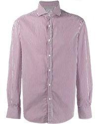 Brunello Cucinelli Классическая Рубашка В Полоску - Красный