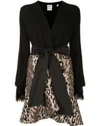 Sara Roka Leopard Print Panelled Mini Dress - Black