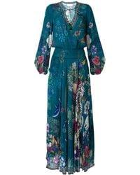 Camilla Lunar Gazing Print Shirred Dress - Blue