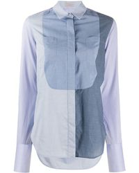 Mrz Colour-block Striped Sleeve Shirt - Blue