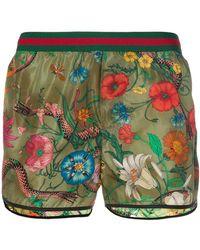 Gucci - Floral-snake Print Swim Shorts - Lyst