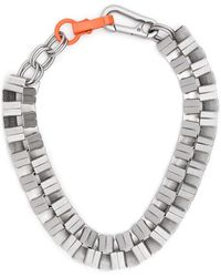 Heron Preston Geometric Cubic Necklace - Metallic