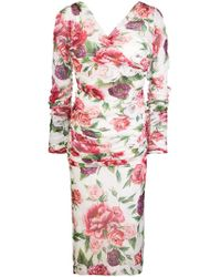 Dolce   Gabbana - Floral Fitted Midi Dress - Lyst 344ddfb51