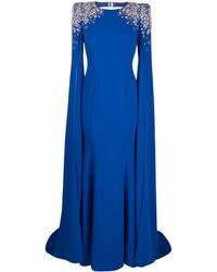 Jenny Packham ショルダーディテール ケープドレス - ブルー