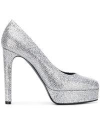 Casadei - Metallic Platform Court Shoes - Lyst