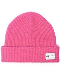 Ganni - Pink Knitted Logo Beanie - Lyst e051c522df20