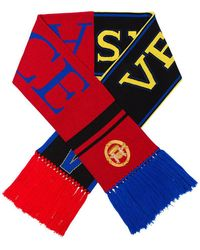 Versace - Black And Red Logo Embroidered Intarsia Virgin Wool Scarf - Lyst