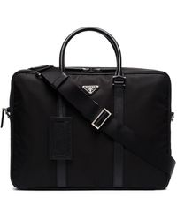 Prada Double Zip Nylon Briefcase - Zwart