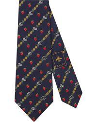 Gucci Corbata con doble G y motivo de fresas y piñas - Azul