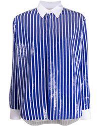 Polo Ralph Lauren Long Sleeve Sequin-embellished Striped Shirt - Blue
