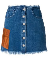 7 For All Mankind - Frayed Hem Denim Skirt - Lyst