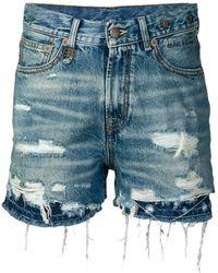 R13 Double Hem Denim Shorts - Blue