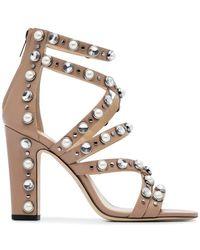 6bd04c1999f1 Jimmy Choo - Pink Jewel Moore 100 Leather Sandals - Lyst