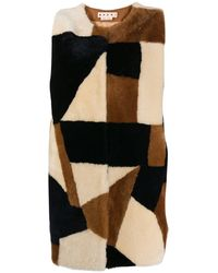Marni Patchwork Print Shearling Gilet - Brown
