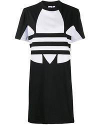 adidas ロゴ Tシャツワンピース - ブラック