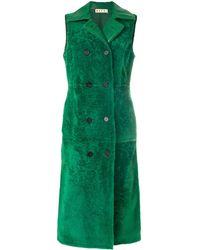 Marni Двубортное Пальто Без Рукавов - Зеленый