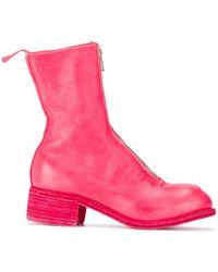 Guidi レザーブーツ - ピンク