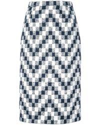Oscar de la Renta - Chevron Checked Pattern Pencil Skirt - Lyst