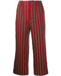 Uma Wang Pantalon crop rayé - Marron
