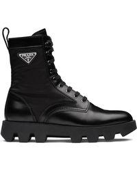 Prada Panelled Combat Boots - Black