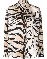 Roberto Cavalli Tiger Stripe-print Silk Shirt - Multicolour