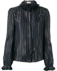 Saint Laurent ラッフルカラー シャツ - ブラック