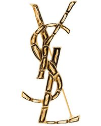 Saint Laurent Ysl Gold-tone Metal Brooch - Metallic