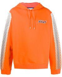 Koche Striped-sleeve Cotton Hoodie - Orange