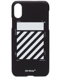 Off-White c/o Virgil Abloh Funda para iPhone X con logo y diseño de rayas - Negro