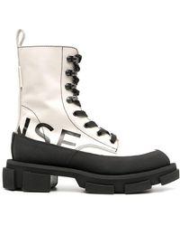 Monse Logo-print Lace-up Ankle Boots - Black