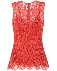 Dolce & Gabbana - Блузка Без Рукавов Из Цветочного Кружева - Lyst