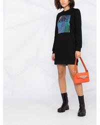 Karl Lagerfeld スパンコールロゴ ドレス - ブラック