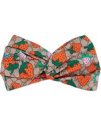 Gucci GG Headband With Strawberry Print - Brown