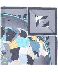 Cartier Pañuelo con estampado de mapamundi - Gris