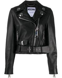 Moschino Укороченная Байкерская Куртка С Поясом - Черный
