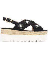 Liu Jo - Crystal Embellished Flatform Sandals - Lyst
