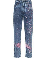 Miu Miu Floral Paint Splatter Jeans - Blue