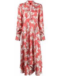 HUGO Платье С Принтом И Завязками - Красный